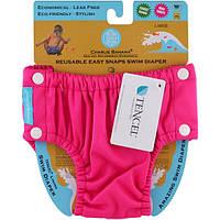 Charlie Banana, Многоразовые легкие подгузники Swim Diaper, ярко-розового цвета, большого размера, 1 подгузник