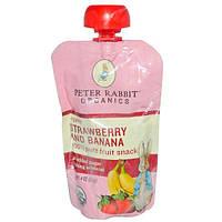Peter Rabbit Organics, 100% чистые фруктовые закуски, клубника и банан, 4 унции (113 г)