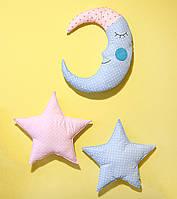 Декор на стену в детскую комнату Луна со звездами