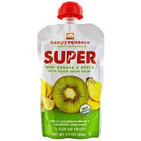 Nurture Inc. (Happy Baby), happysqueeze, Органические супер продукты, киви, банан и яблоко с зернами Salba, 3,5 унции (99 г)