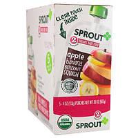 Sprout Organic, Детское питание, 2 ступень, яблоко, банан, мускатная тыква, 5 упаковок, 4 унции (113 г) каждая