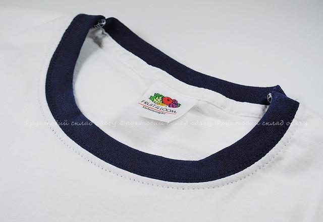 Мужская футболка комбинированная, Белый/Тёмно-синий