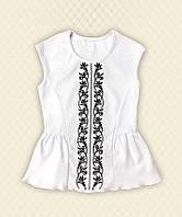 TM Dresko Блуза школьная вышивка короткий рукав интерлок (60140)