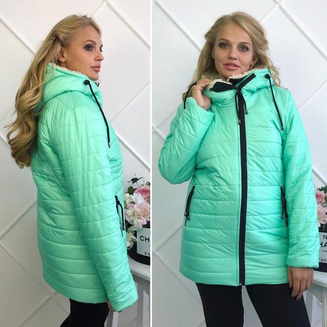 """Зимняя женская теплая куртка на молнии с капюшоном """"Polaris"""" цвет мята : 50-54 размеры"""