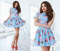 Платье   из летнего джинса с розами