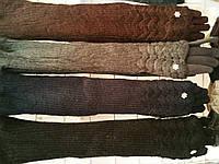 Шерстяные женские перчатки длинные с довязом высокие