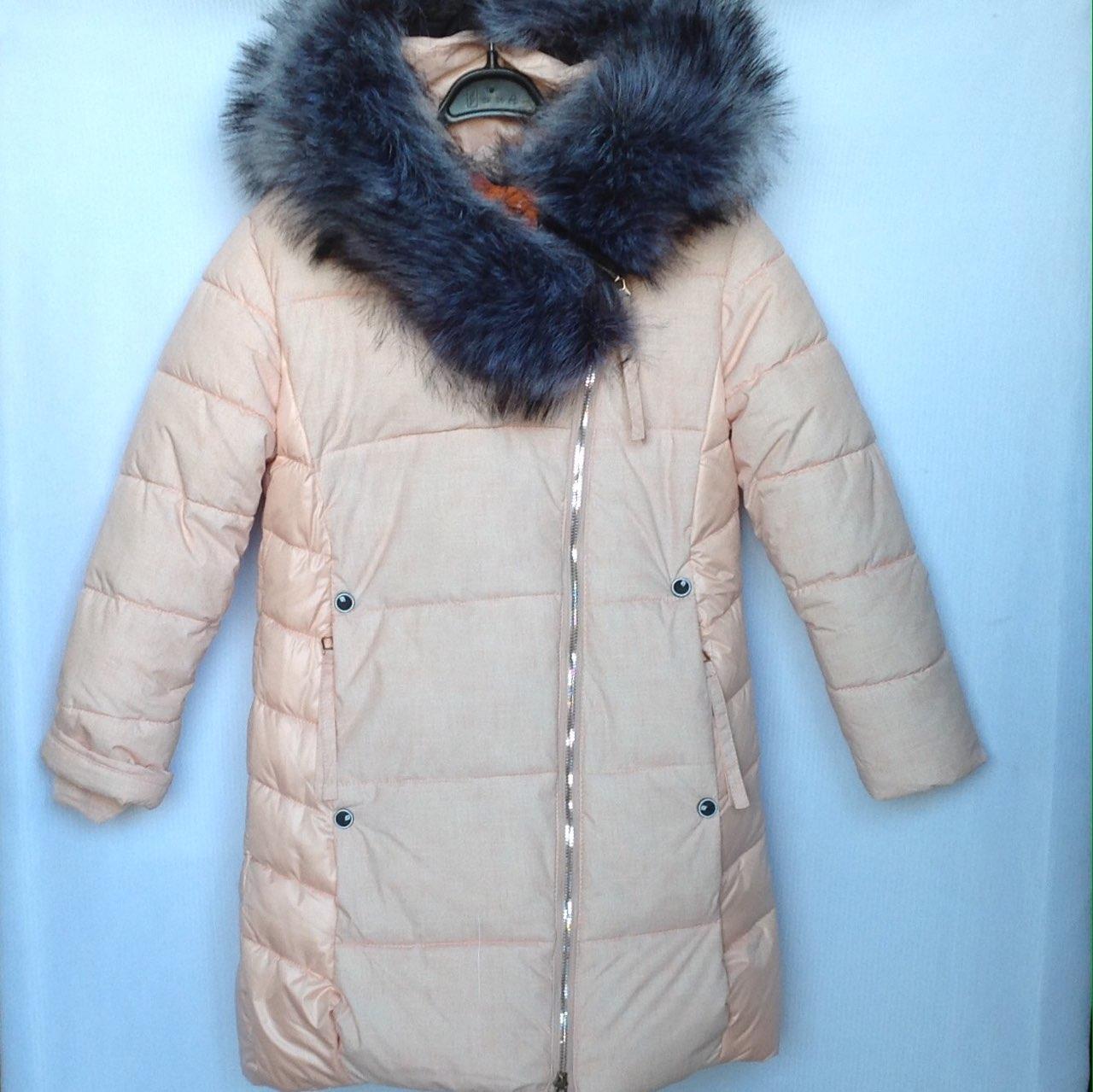 Куртка-пальто подростковая зимняя MaliM #1756 для девочек. 128-152 см (8-12 лет). Бежевая. Оптом.