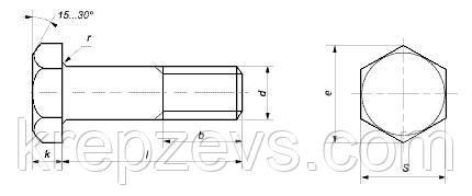 Схема габаритных размеров высокопрочного болта DIN 6914