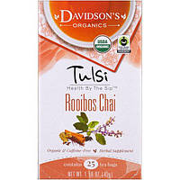 Davidson's Tea, Tulsi, Organic, Rooibos Chai, Caffeine-Free, 25 Tea Bags, 1.58 oz (45 g)