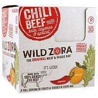 Wild Zora Foods LLC, Батончик из мяса и овощей, говядина чили с капустой, кайенский перец и абрикос, 10 упаковок, по 1,1 унц. (31 г) каждая