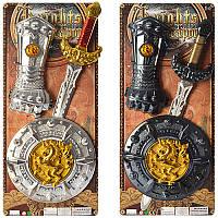 Детский игрушечный набор рыцаря 3012-3013, меч 53см, щит 22см, 2 цвета, на листе, 24,5-57-4,5см