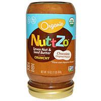Nuttzo, Органическое масло с семью хрустящими орехами и семечками, оригинальное шоколадно-арахисовое масло, 16 унций (454 г)