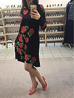 Трикотажное платье короткое чёрное с красным ассиметричный низ