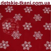 """Новогодняя ткань """"Снежинки 5 см """" на бордовом фоне, № 974 б"""