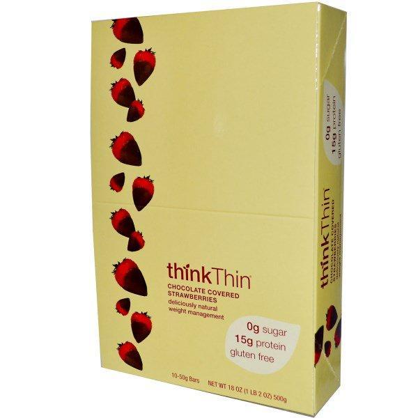 ThinkThin, Chocolate Covered Strawberries, 10 Bars, (50 g) Each