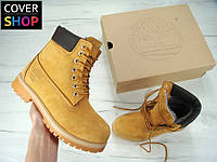 Женские ботинки Timberland, песочные, материал - нубук, утеплитель - натуральный мех