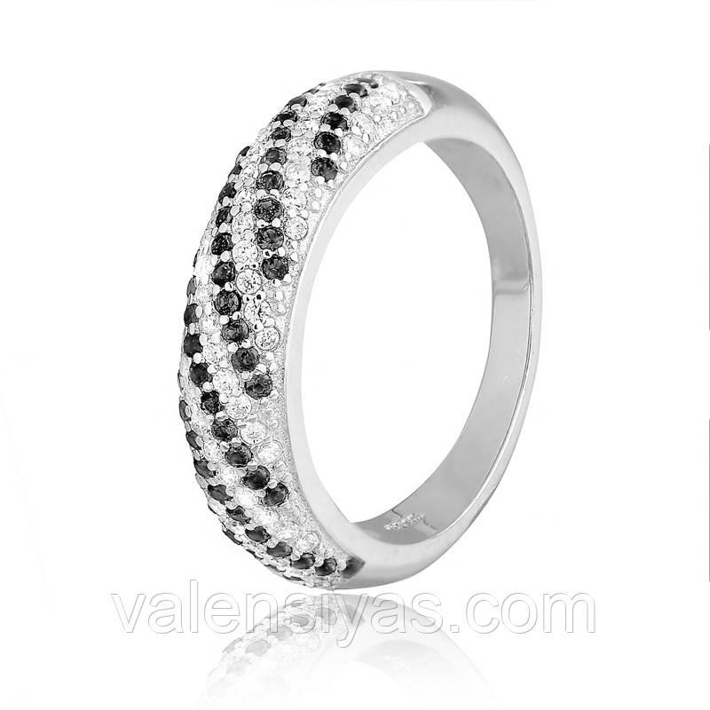 Кільце срібне з чорними каменями К2ФО/803
