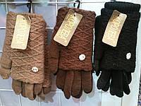 Шерстяные женские перчатки с довязом сенсорные смартфон