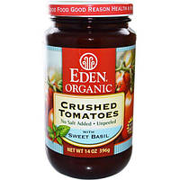 Eden Foods, Organic Crushed Tomatoes with Sweet Basil, 14 oz (396 g)