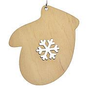 Деревянная новогодняя игрушка заготовка. Варежка со снежинкой