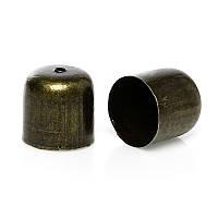Фурнитура для маскировки узлов шнура / Шапочка для Бусин, Античная бронза, 12.0 мм x 12.0 мм, фото 1