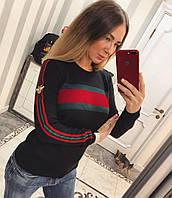 Женский джемпер с цветной полосой, в расцветках