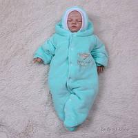 Велюровий комбінезон для новонароджених (бавовняний одяг) Baby Brilliant, ментол, фото 1