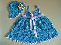 Детское платье и панама р.92 на 2 года ручная работа
