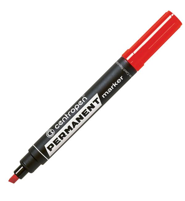 Маркер перманентный Centropen 8576, 1-4,6 мм, клиноподобный наконечник, красный