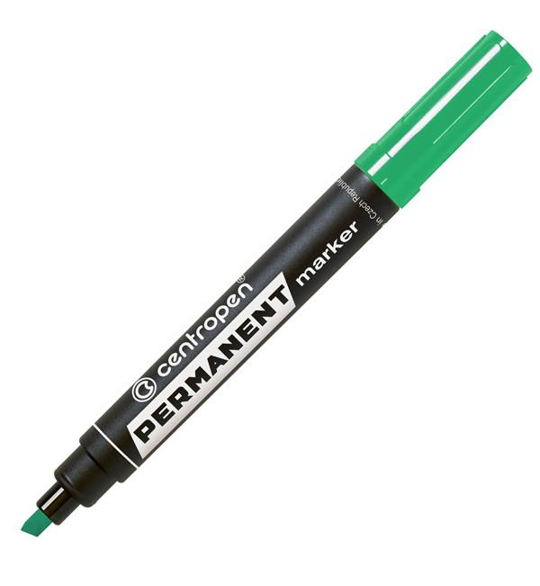 Маркер перманентный Centropen 8576, 1-4,6 мм, клиноподобный наконечник, зеленый