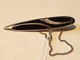 Серебряный зажим для галстука с фианитами и эмалью. Артикул 9617р