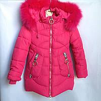 Куртка детская зимняя Girl #HL-820 для девочек. 116-140 см (6-10 лет). Малиновая. Оптом.