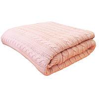 Плед вязаный шерстяной Прованс 200х200 - косы Розовая пудра