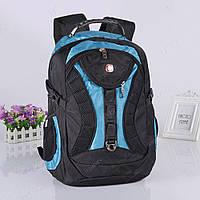 Рюкзак мужской SwissGear с дождевиком и USB AUX черно-синий 557226C