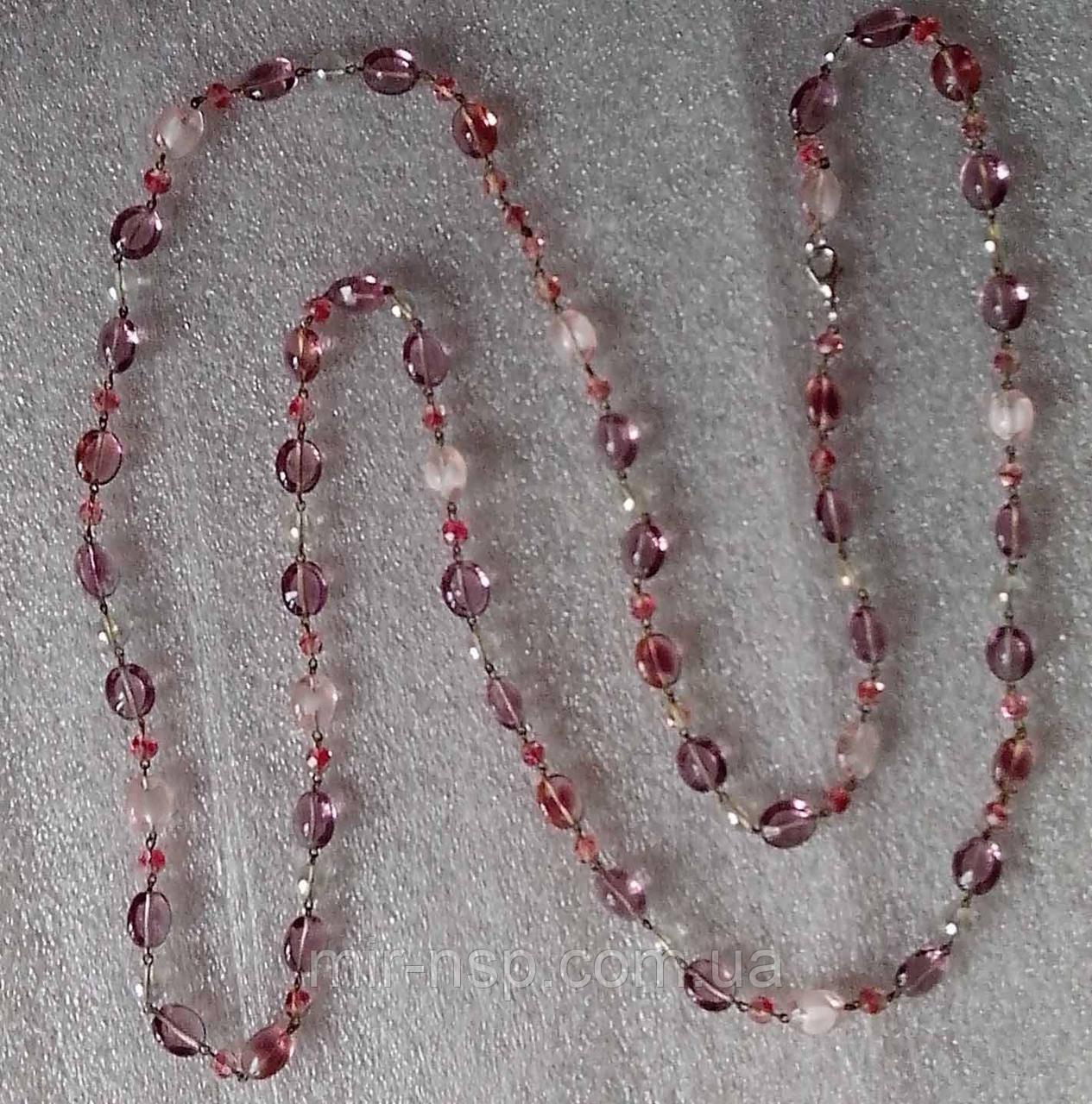 Бусы опаловое стекло розово-сиреневые