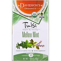 Davidson's Tea, Tulsi, Organic Mellow Mint, 25 Tea Bags, 1.58 oz (45 g)