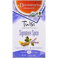Davidson's Tea, Священный базилик, фирменная пряность, без кофеина, 25 чайных пакетиков, 1,58 унции (45 г)