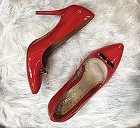 Туфли лодочки на шпильке красные с бантиком Baldaccini