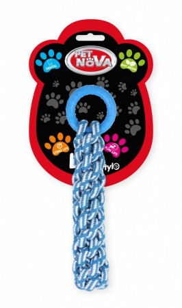 Іграшка для собак Канат в'язаний з кільцем Pet Nova 30 см блакитний