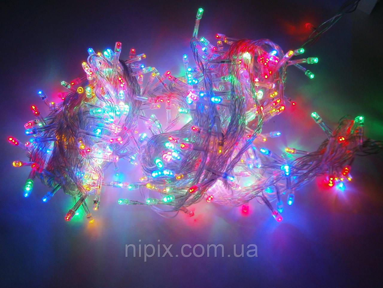 Гирлянда LED 100 лампочек на 6,5 м цветная