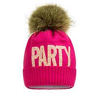 Малиновая шапка Party с помпоном из енота