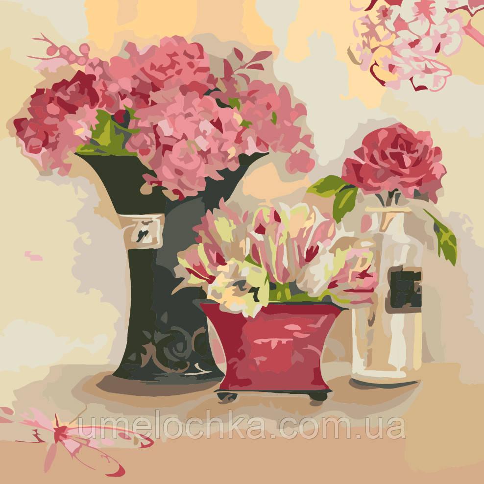 Картина по номерам без коробки Идейка Розовые мечты (KHO2060) 40 х 40 см