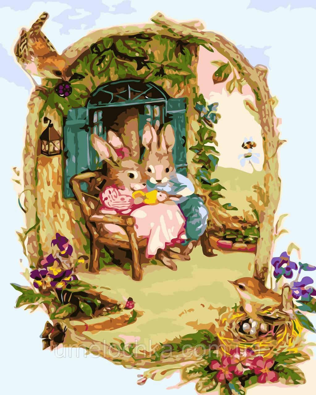 Раскраска на холсте без коробки Идейка Заюшкины посиделки Худ Сьюзан Уилер (KHO2490) 40 х 50 см