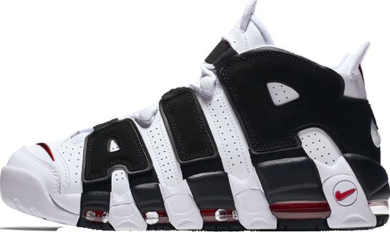 Мужские кроссовки Nike Air More Uptempo White/Black-University Red | 414962-105, Найк Аир Мор Аптемпо