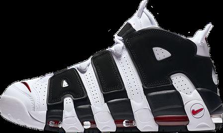 Мужские кроссовки Nike Air More Uptempo White/Black-University Red | 414962-105, Найк Аир Мор Аптемпо, фото 2