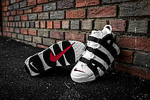 Мужские кроссовки Nike Air More Uptempo White/Black-University Red | 414962-105, Найк Аир Мор Аптемпо, фото 3