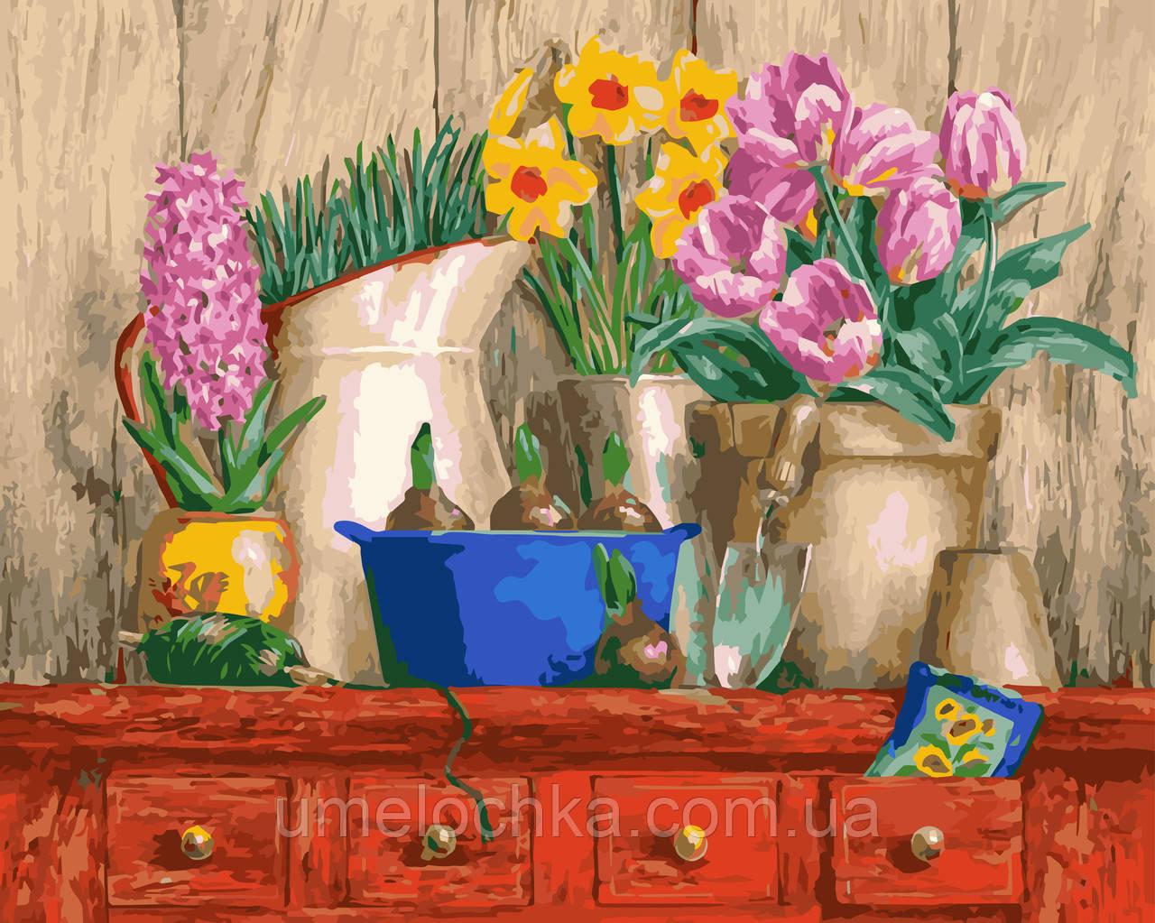 Холст по номерам без коробки Идейка Цветочная идиллия (KHO2922) 40 х 50 см