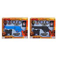 Детский набор ковбоя 911A-3-4, пистолет, наручники, компас, эмблема, 2 вида, в кор-ке, 31.5-24-4см