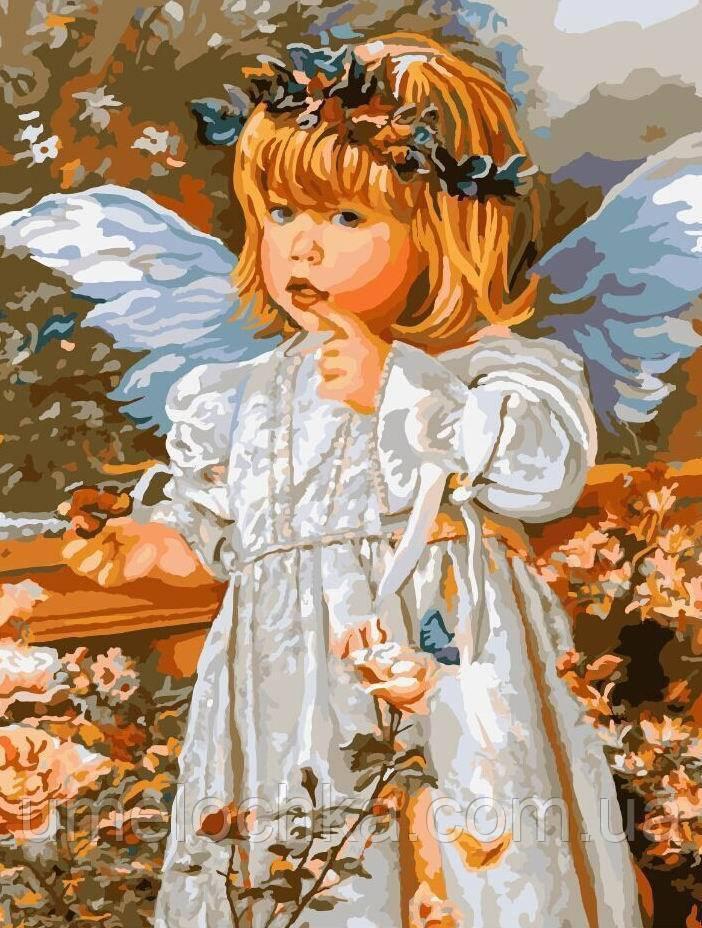 Картина по номерам без коробки Ангел в розовом саду (BK-GX8959) 40 х 50 см