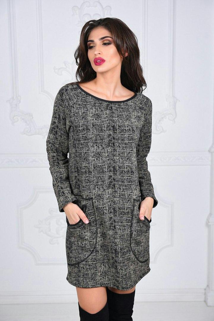 Платье №3592В (р-р.42-46). Ткань: трикотаж-трехнитка. Цвета в ассортименте.